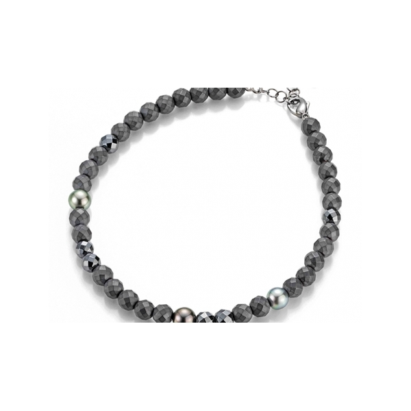 Designer: Gellner<br/>Style: Big Bang Hematite Necklace<br/>Metal: sterling silver, black rhodium plated<br/>Pearls: three Tahitian cultured pearls - one 10.5-11 mm and two 11-11.5 mm<br/>Beads: faceted hematite beads<br/>Length: 40 - 45 cm adjustable