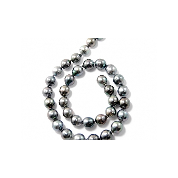 Designer: Gellner<br/>Style: Tahitian Pearl Strand<br/>Pearls: 35 Tahitian cultured pearls, 11-12 mm, varying hues of bluish-green, silver and brown, high luster <br/>Length: 18 inches, one pearl used as vario clasp