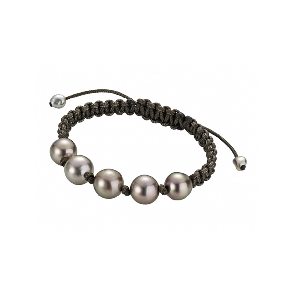 Designer: Gellner<br/>Style: Pearlmate Marcrame Bracelet<br/>Pearls: Five Tahitian cultured brown pearls (treated), 10-12 mm, high luster<br/>Material: brown nylon