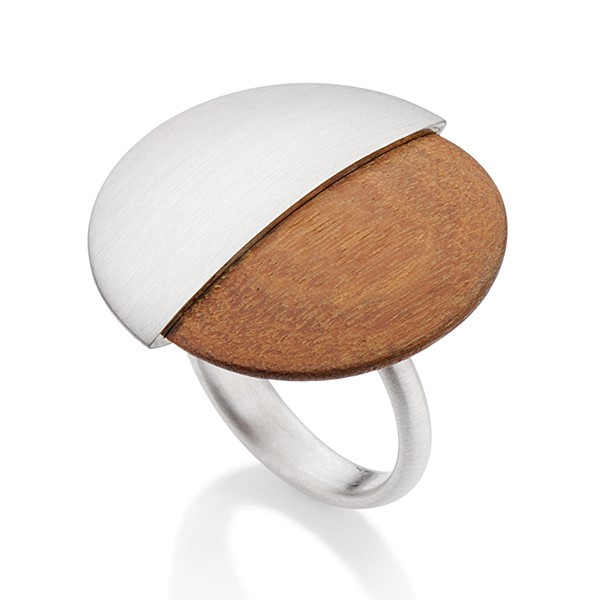 Designer: Antonio Bernardo<br/>Style: Legno Ring<br/>Metal: Sterling silver, matte finish and wood<br/>Finger Size: 6.5 US