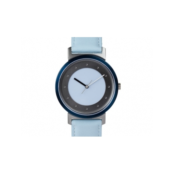 Designer: Quantuz<br/>Style: Shades of Grey<br/>Materials: Stainless steel and anodized aluminum, sapphire crystal and Swiss movement<br/>Strap: calf-leather, light blue