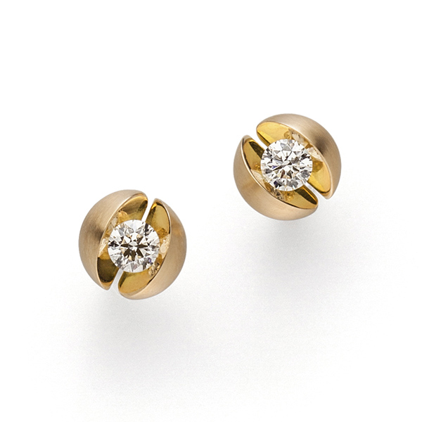 Designer: Schaffrath<br/>Style: 'Calla' Diamond Earrings<br/>Metal: 18-karat yellow gold, matte finish with high polish accent<br/>Diamonds: pair of round brilliant-cut diamonds, G color, SI clarity, 0.44 carat total weight<br/>Diameter: 0.375 inches