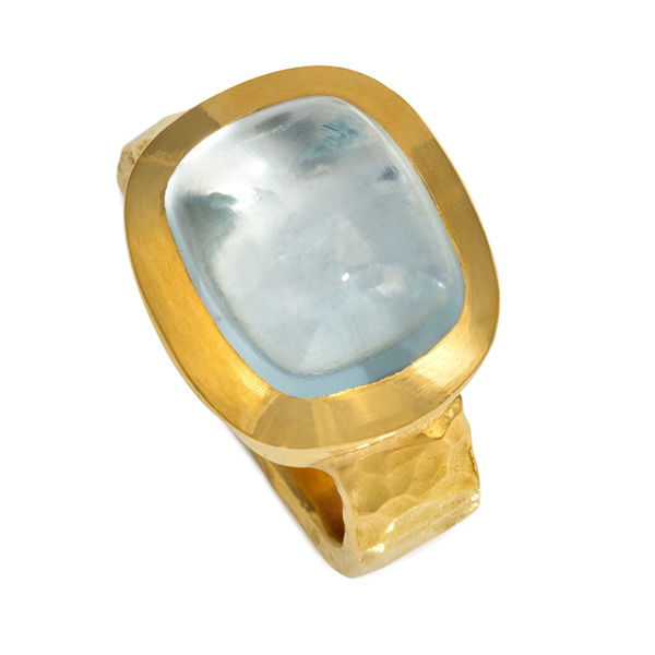 Designer: Bikakis & Johns<br/>Style: Aquamarine Ring<br/>Metal: 22 and 18-karat yellow gold<br/>Stone: 12.6 carat aquamarine cabachon, 11 x 13mm<br/>Finger Size: 8