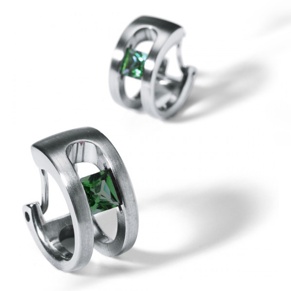 Designer; Humphrey <br/>Style: Tension-Set Green Tourmaline Earrings<br/>Metal: stainless steel, matte finish<br/>Stones: pair of 4mm x 4mm princess-cut green tourmaline<br/>Length: 0.50 inches