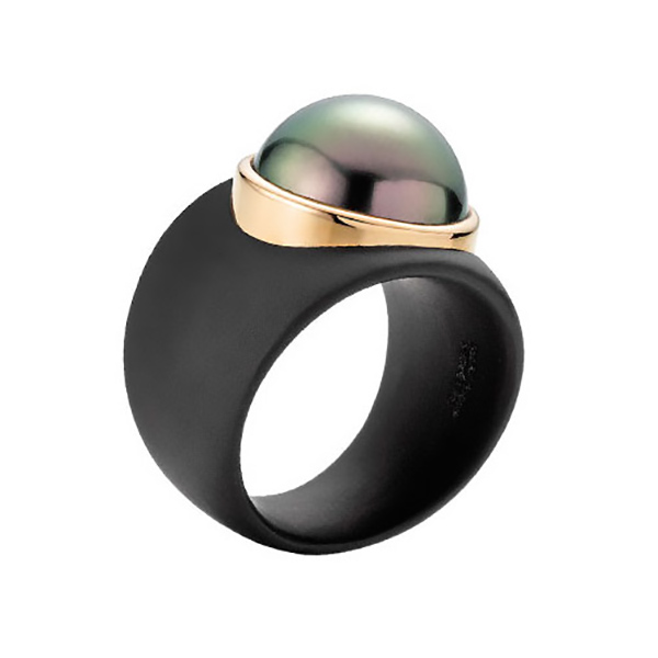 Designer: Gellner (Pinache, Germany)<br>Style: 'Stars in Heaven' Ring<br>Metal: 18-karat rose gold and ionized steel<br>Pearl: Tahitian cultured pearl, dark, 14-15mm, high luster<br>Width: 0.75 - 0.375 inches tapered<br>Finger Size: 54 metric