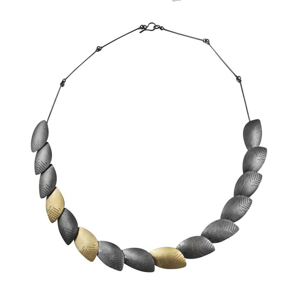 "Designer: Majoral<br/>Style: ""Roma"" Necklace<br/>Metal: 18-karat yellow gold and oxidized sterling silver<br/>Length: 17 inches Width: 0.50 inches"