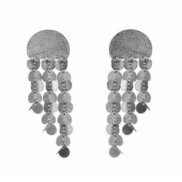 Designer: Majoral<br/>Style: Papallones Earrings<br/>Metal: sterling silver, textured finish<br/>Length: 40 mm, 1.60 inches