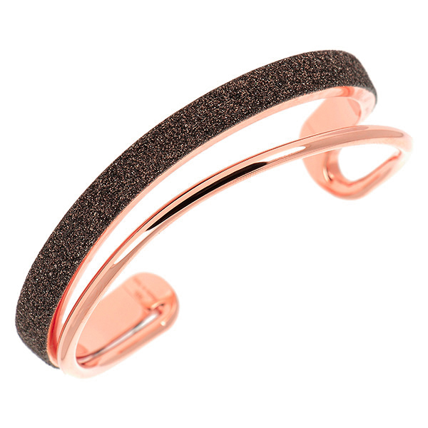 "Designer: Pesavento<br/>Style: ""Polvere"" Asymmetrical Cuff Bracelet<br/>Metal: 18-karat-rose-gold-plated sterling silver with dark brown ""polvere""<br/>Size: Medium/Large"
