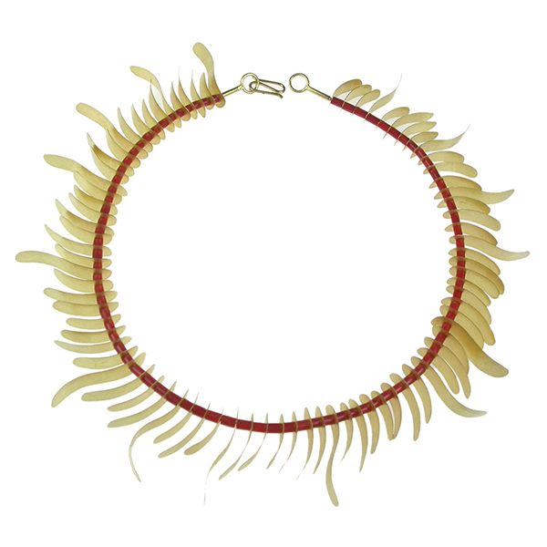 Designer: Majoral<br/>Style: 'Posidonia' Necklace<br/>Metal: 18-karat yellow gold with textured finish<br/>Beads: red coral beads<br/>Length: 16 inches, Width: 1.25 inches
