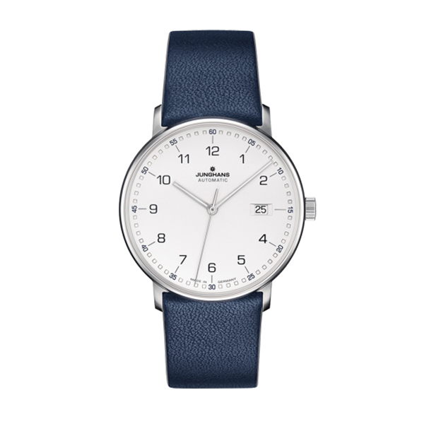 Designer: Junghans<br/>Style: 'Form A' Automatic Watch<br/>Metal: stainless steel <br/>Face: 39mm, pearl white<br/>Strap: navy blue leather, 21mm wide<br/>Length: 8.5 inches