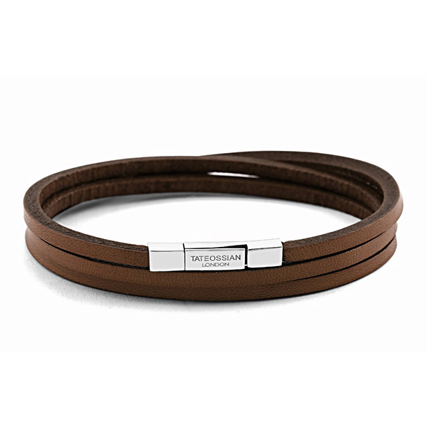 Designer: Tateossian<br/>Style: Triple Wrap Leather Bracelet<br/>Material: brown leather with sterling silver clasp<br/>Length: 58 cm, 22.85 inches