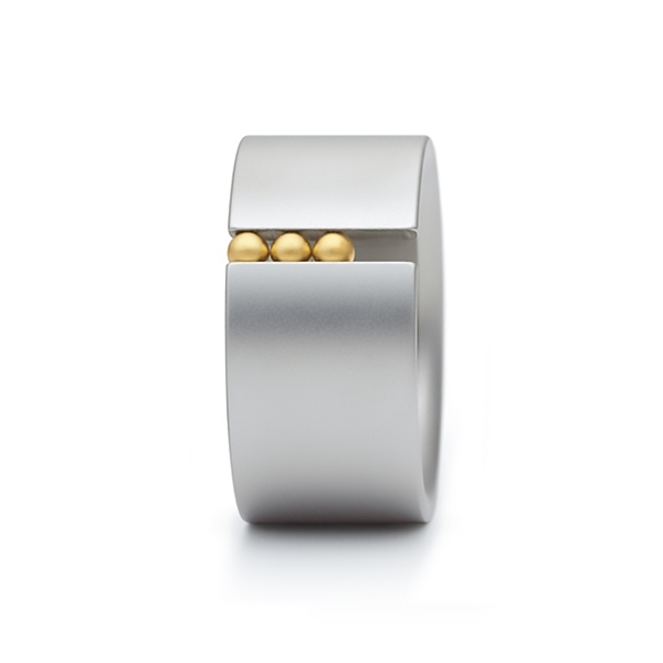 Designer: Niessing<br/>Style: Abakus Ring<br/>Metal: Stainless steel with gold spheres<br/>Call or email for available sizes.